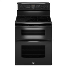 Black Maytag® 6.7 cu. ft. capacity electric double oven range with Even-Air™ true convection