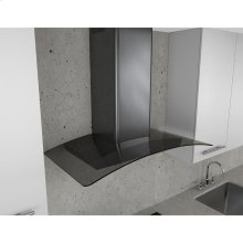 Essentials Series 30-In. Ravenna Wall Mount Range Hood in Black Stainless with Grey Glass