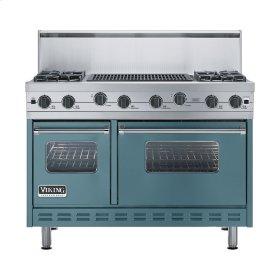 """Iridescent Blue 48"""" Sealed Burner Range - VGIC (48"""" wide, four burners 24"""" wide char-grill)"""
