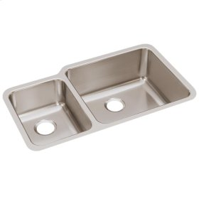 """Elkay Lustertone Classic Stainless Steel, 35-1/4"""" x 20-1/2"""" x 9-7/8"""", Offset 40/60 Double Bowl Undermount Sink"""