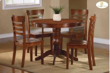 5-Piece Pack Dinette Set Table : 42 Dia x 30H Chair : 18 x 21.25 x 36H