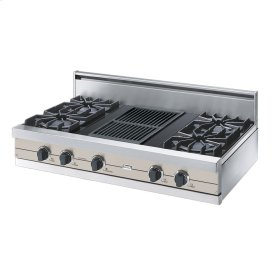 """Oyster Gray 42"""" Open Burner Rangetop - VGRT (42"""" wide, four burners 12"""" wide char-grill)"""