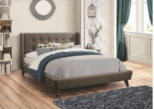 Grey Fabric Queen Size Platform Bed Frame
