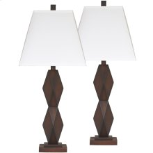 Exceptional Designs by Flash Natane Dark Brown Poly Table Lamp, Set of 2