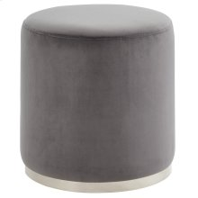 Opus Round Ottoman in Grey and Silver
