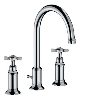 Polished Chrome 3-hole basin mixer 180 with cross handles and pop-up waste set