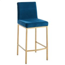 Diego 26'' Counter Stool, set of 2, in Blue with Gold Legs