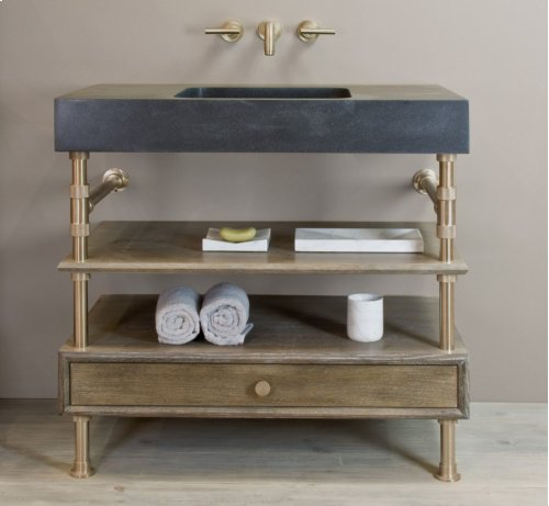 "Elemental Console Sink, 36"" Honed Black Granite / 36in / Aged Brass"