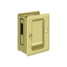 """HD Pocket Lock, Adjustable, 3 1/4""""x 2 1/4"""" Sliding Door Receiver - Polished Brass"""