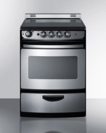 "24"" Wide Smoothtop Electric Range In Stainless Steel, With Low 'slide-in' Backguard and Storage Drawer"