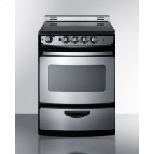 """24"""" Wide Smoothtop Electric Range In Stainless Steel, With Low 'slide-in' Backguard and Storage Drawer"""