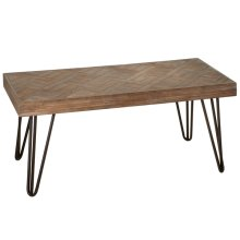 Coffee Table with Woven Pattern Top.