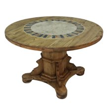 "Round Ped Table W/Stone: 48"" x 30"" x 48"" Round Dining Tables W/Stone"