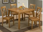 Simplicity Honey Square Dining Table With Four X Back Dining Chairs