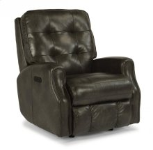 Devon Leather Power Rocking Recliner with Power Headrest and without Nailhead Trim
