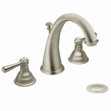 Kingsley brushed nickel two-handle bathroom faucet
