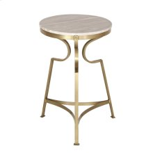 Bengal Manor Solid Iron Accent Table in Antique Brass Finish w/ Marble Top
