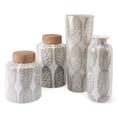 Feather Sm Covered Jar Ivory & Sage Grn