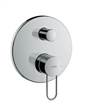 Chrome Single lever bath mixer for concealed installation with loop handle and integrated security combination according to EN1717