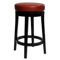 "Mbs-450 26"" Backless Swivel Barstool in Red Bonded Leather Product Image"