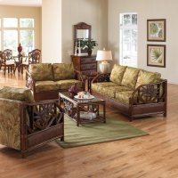 Havana Palm Upholstered Rattan & Wicker 5 PC Set Deep Seating Group Product Image