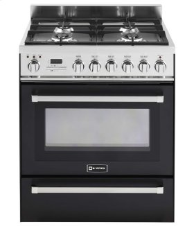 """Black 30"""" Self-Cleaning Dual Fuel Range with Warming Drawer"""