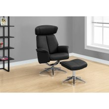RECLINING CHAIR - 2PCS SET / BLACK SWIVEL ADJUST HEADREST