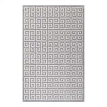 Freydis Greek Key 8x10 Area Rug in White and Light Gray