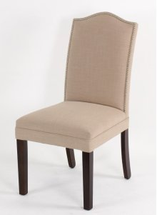 Camel top wood leg chair with small nails on inside back of seat