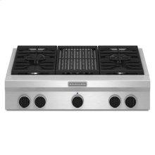 KitchenAid® 36-Inch 4 Burner with Grill, Gas Rangetop, Commercial-Style - Stainless Steel