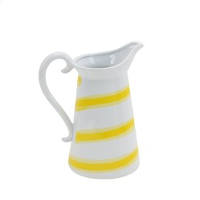 "Ceramic Striped Pitcher 11"", White/yellow"
