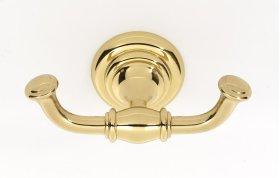 Charlie's Collection Double Robe Hook A6784 - Polished Brass