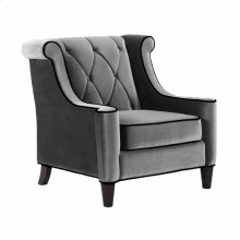Barrister Chair In Gray Velvet with Black Piping