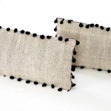 "12x28"" Size Black Fringe Trim Pillow, Set of 2"