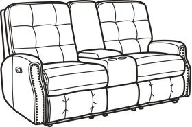Devon Leather Reclining Loveseat with Console and Nailhead Trim