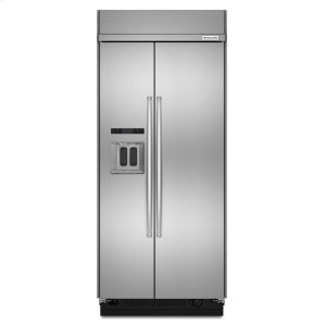 KitchenAid20.8 cu ft 36-Inch Width Built-In Side-by-Side Refrigerator with PrintShield™ Finish - Stainless Steel
