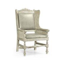 Jacobean Style Grey Oak Wing Chair