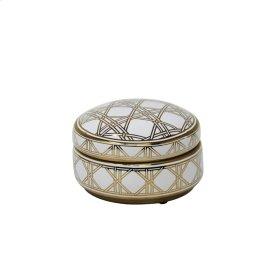 "White/gold Weave Design Jar 5"""