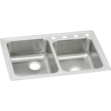 """Elkay Lustertone Classic Stainless Steel 33"""" x 22"""" x 7-7/8"""", Offset Double Bowl Drop-in Sink"""