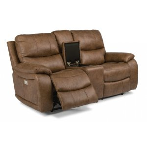 FLEXSTEELHendrix Fabric Power Reclining Loveseat with Console and Power Headrests