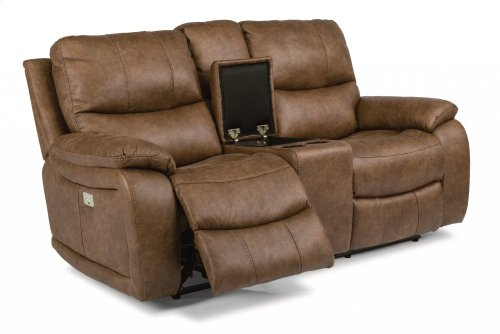 Hendrix Fabric Power Reclining Loveseat with Console and Power Headrests