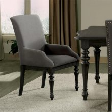 Corinne - Upholstered Arm Chair - Ebonized Acacia Finish