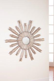 Large Portuguese Starburst Mirror, Silver Leaf Finish On Carved Wood.
