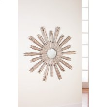 Large Portuguese Starburst Mirror, Silver Leaf Finish On Carved Wood.