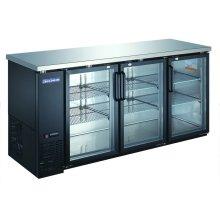 "3 Glass Door 72"" Back Bar Refrigerator"