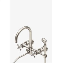 Dash Wall Mounted Exposed Tub Filler with Metal Handshower and Cross Handles STYLE: DSXT20