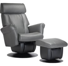 The Liverpool glider is part of the AvantGlide collection and features adjustable headrest and tapered outward armrests.