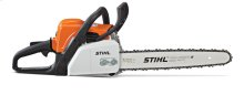 A lightweight chainsaw designed for woodcutting tasks around the home.