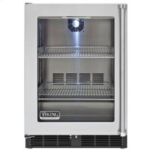 """24"""" Undercounter Refrigerator, Clear Glass, Left Hinge/Right Handle"""