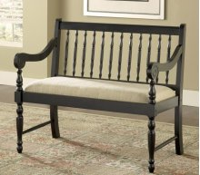 Black Deacons Bench with Linen Fabric